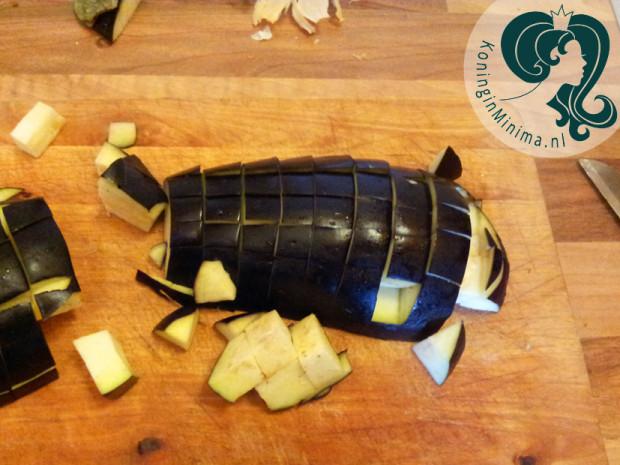 aubergine-blokjes